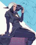 1girl bird breasts brick closed_mouth commission hat legs medium_hair original raven_(animal) rejean_dubois