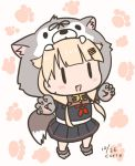 1girl animal_hood black_ribbon black_serafuku black_skirt blonde_hair chibi curse_(023) dog_hood dog_tail fang full_body gloves hair_flaps hair_ornament hair_ribbon hairclip hood kantai_collection long_hair neckerchief open_mouth paw_boots paw_gloves paw_print_background paws pleated_skirt red_neckwear remodel_(kantai_collection) ribbon school_uniform serafuku skirt smile solo tail white_background yuudachi_(kantai_collection) |_|