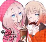 2girls bangs blue_eyes blush brown_hair cevio crossover cup disposable_cup doughnut drawstring drinking drinking_straw eyebrows_visible_through_hair food hair_between_eyes highres holding holding_cup holding_food hood hood_up hooded_jacket ia_(vocaloid) jacket long_hair long_sleeves multiple_girls one_(cevio) one_eye_closed open_mouth orange_jacket pink_jacket simple_background sleeves_past_wrists unmoving_pattern vocaloid white_background yuuki_kira