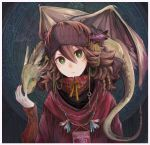1girl braid brown_hair carrying commentary dragon feathers fingernails fringe_trim green_eyes hair_ornament hand_up headband highres horns jewelry kamura_gimi long_sleeves looking_at_viewer medium_hair necklace original red_shirt ringed_eyes shirt shoulder_carry tail upper_body wings