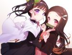 2girls bamboo bangs bit_gag black_hair black_jacket black_skirt blush brown_hair butterfly_hair_ornament cape checkered closed_mouth commentary_request eyebrows_visible_through_hair forehead gag gradient_hair hair_ornament hair_ribbon jacket japanese_clothes kamado_nezuko kimetsu_no_yaiba kimono long_hair long_sleeves looking_at_viewer mouth_hold multicolored_hair multiple_girls neck_ribbon obi open_clothes parted_bangs pink_eyes pink_kimono pleated_skirt red_ribbon ribbon sash side_ponytail simple_background skirt tousaki_shiina tsuyuri_kanao very_long_hair violet_eyes white_background white_cape white_ribbon wide_sleeves