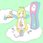 1girl :3 :| absurdres analog_clock angel_wings animal animal_on_shoulder arms_at_sides asymmetrical_legwear bangs bird bird_on_shoulder blonde_hair blue_legwear blush_stickers cake clock closed_mouth clouds cup dot_nose drawstring drink expressionless eyes_visible_through_hair flat_color food fruit green_background hair_ornament hairclip halo highres long_hair looking_at_viewer mug no_shoes original parted_bangs pen pink_legwear pocket pom_pom_(clothes) sandwich sink's_adventure slice_of_cake socks solo standing steam strawberry strawberry_shortcake stuffed_animal stuffed_bunny stuffed_toy tareme toothbrush toothpaste very_long_hair white_skin wings