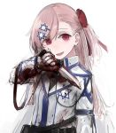 blood bloody_hands bow collared_jacket girls_frontline gloves hair_bow hair_ornament hairclip hexagram knife long_hair negev_(girls_frontline) open_mouth pink_hair rampart1028 red_bow red_eyes smile star_of_david white_gloves