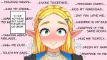 1girl absurdres blonde_hair blush braid commentary elf english_text forehead green_eyes hair_ornament hairclip hands_on_shoulders heavy_breathing highres link long_hair looking_at_viewer nose_blush pointy_ears pov princess_zelda sidelocks smile solo sweatdrop the_legend_of_zelda the_legend_of_zelda:_breath_of_the_wild the_legend_of_zelda:_breath_of_the_wild_2 the_only_shoe thick_eyebrows