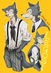 1boy beastars belt fur furry legosi msdk_max necktie school_uniform solo suspenders tail twitter_username vest wolf wolf_tail