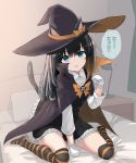 1girl animal_ears asashio_(kantai_collection) between_legs black_cloak black_hair black_legwear blue_eyes cat_ears cat_tail cloak dress fake_animal_ears fake_tail gloves halloween halloween_costume hand_between_legs hat highres indoors kantai_collection kuronaga long_hair long_sleeves looking_at_viewer multicolored multicolored_cloak multicolored_clothes multicolored_legwear on_bed orange_cloak orange_legwear pinafore_dress pleated_skirt remodel_(kantai_collection) shirt sitting skirt solo speech_bubble striped striped_legwear tail thigh-highs translated wariza white_gloves white_shirt witch_hat