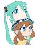 1girl a_hat_in_time bard-bot blue_eyes brown_hair cape commentary crossover english_commentary green_eyes green_hair hat hat_kid hatsune_miku long_hair low_ponytail pun sketch smile solo_focus top_hat twintails very_long_hair vocaloid yellow_cape zipper