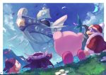 absurdres aircraft airship arms_up banana bandana_waddle_dee beak cape flower food from_behind from_below fruit fur_coat fur_trim grass highres king_dedede kirby kirby's_return_to_dream_land kirby_(series) landia looking_up lor_starcutter meta_knight mountainous_horizon polearm sail shiburingaru shoulder_armor smile spear standing tree weapon