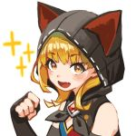1girl animal_hood bare_shoulders black_gloves black_hoodie blonde_hair blush boots cat_hood dragalia_lost emma_(dragalia_lost) fang gauntlets gloves highres hood looking_at_viewer open_mouth paw_pose short_hair simple_background smile sparkle upper_body