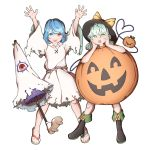 2girls bare_legs black_headwear blue_hair boots flip-flops ghost_costume green_eyes green_hair halloween halloween_costume hands_on_own_cheeks hands_on_own_face hat heterochromia highres knee_boots komeiji_koishi looking_at_viewer mefomefo multiple_girls pumpkin_costume red_eyes sandals short_hair surprised tatara_kogasa third_eye tongue tongue_out touhou umbrella veins