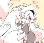 1girl 1other armor biting cape charizard corrin_(fire_emblem) corrin_(fire_emblem)_(female) creatures_(company) dragon dragon_girl elf eromame female_my_unit_(fire_emblem_if) fire_emblem fire_emblem_fates fire_emblem_if flame_(specie) from_side game_freak gen_1_pokemon hairband intelligent_systems kamui_(fire_emblem) long_hair manakete monochrome my_unit_(fire_emblem_if) nintendo olm_digital one_eye_closed open_mouth orange_background pointy_ears pokemon pokemon_(anime) pokemon_(creature) pokemon_(game) pokemon_rgby simple_background sora_(company) super_smash_bros. super_smash_bros_for_wii_u_and_3ds twitter_username