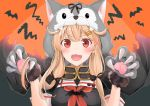 1girl :3 :d alternate_costume animal_hood black_serafuku blonde_hair blush breasts claws gloves hair_flaps hair_ornament hair_ribbon hairclip halloween_costume highres hood hood_up kantai_collection long_hair looking_at_viewer neckerchief open_mouth paw_gloves paw_pose paws red_eyes remodel_(kantai_collection) ribbon school_uniform serafuku smile solo upper_body yunamaro yuudachi_(kantai_collection)
