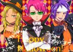 1girl 2boys aiura_mikoto animal_ears antennae ascot asymmetrical_bangs bangs black_headwear black_jacket blonde_hair blush choker closed_mouth collar collarbone commentary_request crossed_arms dog_collar dog_ears glasses halloween halloween_costume hat high_collar jacket kameron long_hair long_sleeves looking_at_viewer multiple_boys one_eye_closed open_mouth orange_shirt paws pink_hair purple_hair saiki_kusuo saiki_kusuo_no_psi_nan shirt short_hair toritsuka_reita upper_body violet_eyes