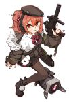 1girl amonitto ascot bangs black_footwear black_headwear black_legwear blush boots candy dinergate_(girls_frontline) food girls_frontline gun h&k_mp7 hair_bobbles hair_ornament hat headphones holding holding_gun holding_weapon jacket lollipop long_sleeves mouth_hold mp7_(girls_frontline) off_shoulder pantyhose pleated_skirt ponytail red_eyes redhead shirt simple_background skirt striped striped_neckwear submachine_gun weapon white_background white_shirt