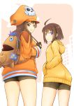 2girls ahoge arc_system_works backpack bag bike_shorts brown_eyes brown_hair commentary_request crossover fingerless_gloves gloves guilty_gear guilty_gear_2020 hands_in_pockets hat highres hood hoodie linne long_hair may_(guilty_gear) multiple_girls orange_hoodie pirate_hat ponkotsu short_hair skull_and_crossbones smile thighs trait_connection under_night_in-birth violet_eyes yellow_hoodie