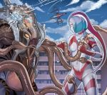 1girl absurdres breasts building commentary_request from_side giantess highres holding looking_at_another monster no_pupils orange_sclera original short_hair small_breasts tagme tentacles tokusatsu ultra_series yewang19