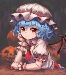 1girl absurdres arm_rest bat_wings blue_hair brooch commentary_request cravat elbow_rest eyebrows_visible_through_hair faux_traditional_media gradient gradient_background hair_between_eyes halloween hand_on_own_face hat highres jack-o'-lantern jewelry looking_at_viewer mob_cap partial_commentary pink_headwear pink_shirt pink_skirt puffy_short_sleeves puffy_sleeves red_eyes red_neckwear remilia_scarlet sash shirt short_hair short_sleeves skirt smile solo touhou upper_body wings wrist_cuffs yanyan_(shinken_gomi)