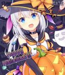 1girl :d bangs black_collar black_headwear black_sailor_collar black_sleeves blue_eyes bow candy candy_wrapper character_request collar collarbone commentary_request copyright_name eyebrows_visible_through_hair fang food ghost hair_between_eyes halloween happy_halloween hat hat_bow hitsuki_rei jack-o'-lantern lollipop long_hair long_sleeves looking_at_viewer neckerchief open_mouth orange_bow orange_neckwear orange_sleeves puff_and_slash_sleeves puffy_short_sleeves puffy_sleeves sailor_collar shirt short_over_long_sleeves short_sleeves silver_hair sleeveless sleeveless_shirt smile snowdreams_-lost_in_winter- solo striped_sleeves swirl_lollipop top_hat trick_or_treat watermark white_shirt witch_hat