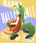 1girl alternate_costume animal_ears bare_shoulders blush boots costume crescent crescent_hair_ornament dress green_eyes green_hair green_panties hair_ornament halloween ichimi jack-o'-lantern kantai_collection kemonomimi_mode long_hair looking_back nagatsuki_(kantai_collection) orange_dress orange_legwear panties pantyshot pantyshot_(sitting) sarashi sitting solo tail thigh-highs underwear wariza wolf_ears wolf_tail