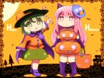 2girls :d arm_up bare_shoulders basket black_headwear boots candy candy_cane chibi choker commentary_request crescent elbow_gloves food frilled_sleeves frills gloves glowing green_eyes green_hair green_skirt halloween happy_halloween hat hat_ribbon hata_no_kokoro holding holding_basket holding_food knee_boots komeiji_koishi long_hair long_sleeves looking_at_viewer mask mask_on_head miniskirt multiple_girls open_mouth orange_ribbon orange_shirt orange_sky pink_eyes pink_hair pointy_hat purple_choker purple_footwear purple_gloves ribbon shirosato shirt short_hair sidelocks skirt sky smile touhou