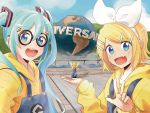1boy 2girls aqua_eyes aqua_hair arms_up bangs blonde_hair blue_eyes bow cosplay crossover day despicable_me fang forced_perspective glasses globe hair_bow hair_ornament hairclip hatsune_miku highres holding kagamine_len kagamine_rin light_blush long_hair looking_at_viewer m0ti minion_(despicable_me) minion_(despicable_me)_(cosplay) multiple_girls one_knee open_mouth outdoors short_hair smile spiky_hair suspenders swept_bangs twintails universal_studios very_long_hair vocaloid w white_bow yellow_hoodie