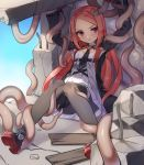 1girl arms_up bike_shorts black_legwear blush breasts closers highres jacket kuro_(kuronell) long_hair looking_at_viewer luna_aegis_(closers) necktie open_clothes open_jacket redhead restrained ruins sitting small_breasts solo sweatdrop tentacles thigh-highs thigh_strap very_long_hair violet_eyes