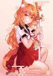 136364 1girl absurdres animal_ears cherry_blossoms egasumi fate/extra fate/extra_ccc fate/extra_ccc_fox_tail fate/grand_order fate_(series) fox_ears fox_tail highres katana one_knee orange_eyes orange_hair side_slit skirt smile suzuka_gozen_(fate) sword tail weapon