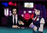 1boy 1girl absurdres alcohol allgreen bartender beard black_hair black_jacket black_neckwear coin collared_shirt crossover cup cyberpunk_2077 english_commentary facial_hair glasses highres holding holding_cup jacket jill_stingray john_wick johnny_silverhand_(cyberpunk_2077) keanu_reeves long_hair long_sleeves necktie purple_hair red_eyes red_neckwear shirt sidelocks twintails va-11_hall-a vest white_shirt