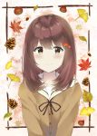 1girl 7_calpis_7 autumn_leaves bangs black_ribbon blush brown_cardigan brown_eyes brown_hair cardigan closed_mouth commentary_request eyebrows_visible_through_hair ginkgo ginkgo_leaf hair_between_eyes highres leaf long_hair looking_at_viewer maple_leaf neck_ribbon original pinecone ribbon sailor_collar school_uniform serafuku smile solo upper_body white_sailor_collar