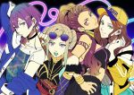 4girls alternate_costume arm_up baseball_cap belt bernadetta_von_varley blonde_hair bracelet brown_hair closed_mouth dorothea_arnault earrings edelgard_von_hresvelg eyewear_on_head facial_mark fire_emblem fire_emblem:_three_houses from_side green_eyes grey_eyes hat highres jacket jewelry long_sleeves looking_to_the_side multiple_girls nail_polish oragamura999 parted_lips petra_macneary ponytail purple_hair short_hair short_sleeves simple_background sunglasses violet_eyes