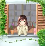 1girl bangs beige_sweater blush braid chair commentary_request eyebrows_visible_through_hair flower green_eyes highres long_sleeves looking_at_viewer original pink_flower qoray7 red_flower ribbed_sweater sleeves_past_wrists smile solo sweater table twin_braids window