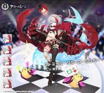 1girl admiral_graf_spee_(azur_lane) alternate_costume azur_lane bangs bikini black_bikini black_footwear black_legwear black_skirt blue_eyes blunt_bangs boots breasts character_name checkered checkered_floor expressions eyebrows_visible_through_hair fishnet_legwear fishnets holding holding_microphone idol looking_at_viewer manjuu_(azur_lane) mechanical_hands microphone microphone_stand miniskirt mismatched_legwear multicolored_hair ran_(pixiv2957827) redhead short_hair sidelocks silver_hair skirt small_breasts standing standing_on_one_leg streaked_hair swimsuit thigh_strap watermark