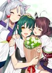 3girls :3 :d ;d ^_^ absurdres ahoge animal_ear_fluff animal_ears bangs bouquet brown_hair closed_eyes closed_mouth eyebrows_behind_hair flower fox_ears girl_sandwich green_hair hair_ornament hand_on_another's_head headgear highres holding holding_bouquet hug japanese_clothes kimono long_hair multiple_girls muneate obi one_eye_closed open_mouth orange_eyes rose sandwiched sash short_sleeves silver_hair smile tasuki touhoku_itako touhoku_kiritan touhoku_zunko twintails voiceroid white_flower white_kimono white_rose yappen