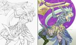 1girl armor breasts commentary lineart long_hair monster_hunter rejean_dubois simple_background solo weapon white_background