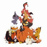 >_o autumn_leaves bluekomadori closed_eyes closed_mouth commentary english_commentary food gen_3_pokemon gen_6_pokemon gen_7_pokemon gourgeist halloween highres leaf morelull no_humans one_eye_closed open_mouth pie pokemon pokemon_(creature) shuppet simple_background slice_of_pie smile togedemaru whipped_cream white_background