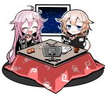 2girls ahoge black_shirt blue_eyes book braid braided_ponytail cevio chibi closed_eyes collar commentary cup food fruit holding holding_book ia_(vocaloid) kotatsu long_hair mandarin_orange monitor mug multiple_girls night night_sky one_(cevio) open_mouth orange_peel paper pink_hair platinum_blonde_hair shidoh279 shirt short_hair side_braid side_ponytail sitting sky smile star_(sky) starry_sky table vocaloid