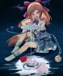 1girl aiza-ku alcohol arm_on_knee bangs bare_arms belt blue_background bow bowtie chain commentary cube cuffs cup eyebrows_visible_through_hair fang full_moon gradient gradient_background hair_bow head_tilt highres holding holding_cup horn_ribbon horns ibuki_suika in_water knee_up layered_skirt long_hair looking_at_viewer moon no_shoes open_mouth orange_hair pouring pyramid_(geometry) red_eyes red_neckwear reflection ribbon ripples sakazuki sake shackles shirt sidelocks sitting skin_fang sleeveless sleeveless_shirt socks solo sphere swept_bangs touhou very_long_hair white_legwear