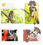 1girl :< animal bangs bird bird_tail black_footwear branch brown_hair brown_hawk-owl_(kemono_friends)_(roonhee) character_name coat commentary_request crossed_legs dated fur-trimmed_coat fur-trimmed_sleeves fur_collar fur_trim hair_between_eyes head_wings japari_symbol kemono_friends korean_commentary looking_at_viewer minigirl mixed-language_commentary multicolored_hair multilingual original owl pantyhose personification photo-referenced reference_photo_inset roonhee serious shoes short_hair signature sitting sitting_on_branch triangle_mouth white_hair yellow_eyes yellow_legwear