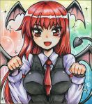 1girl :d armband bat_wings blush breasts commentary_request demon_tail dress_shirt eyebrows_visible_through_hair fang gradient gradient_background head_wings koakuma long_hair long_sleeves looking_at_viewer medium_breasts necktie open_mouth paw_pose red_eyes red_neckwear redhead shikishi shiny shiny_hair shirt smile solo sparkle tail touhou traditional_media upper_body vest white_shirt wings yagami_(mukage)