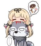 ... 1girl 1other animal_ear_fluff animal_ears asimo953 biting black_ribbon blonde_hair blood candy chibi closed_eyes commentary_request cookie doughnut fangs food hair_ribbon halloween kantai_collection long_hair on_head ribbon simple_background speech_bubble tail tress_ribbon twintails white_background wolf wolf_ears wolf_tail yuudachi_(kantai_collection)
