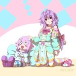 1girl bed bow braid character_doll crown495 hair_bow highres kneeling long_hair looking_at_viewer neptune_(neptune_series) neptune_(series) purple_hair pururut single_braid slippers smile solo striped striped_legwear thigh-highs very_long_hair violet_eyes