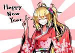 1girl ahoge beads blonde_hair blush closed_eyes commentary floral_print flower grin hair_beads hair_flower hair_ornament hand_up happy_new_year japanese_clothes kimono long_hair new_year ponytail red_kimono shidoh279 smile solo sun tsurumaki_maki upper_body v voiceroid wide_sleeves