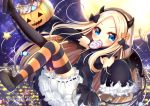 1girl abigail_williams_(fate/grand_order) bangs black_bow black_dress black_footwear black_hairband black_legwear black_sleeves blonde_hair bloomers blush bow candy candy_wrapper cityscape commentary demon_girl demon_horns demon_tail detached_sleeves dress eyebrows_visible_through_hair fake_horns fate/grand_order fate_(series) food forehead full_moon hairband halloween halloween_basket horns knee_up leg_up lollipop long_sleeves looking_at_viewer mismatched_legwear moon night night_sky open_mouth orange_bow outdoors parted_bangs polka_dot polka_dot_bow shoe_soles shoes sky sleeveless sleeveless_dress sleeves_past_fingers sleeves_past_wrists solo star star_(sky) starry_sky striped striped_legwear swirl_lollipop tail thigh-highs torn_clothes torn_sleeves twitter_username underwear v-shaped_eyebrows white_bloomers yukiyuki_441
