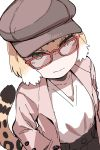 1girl absurdres alternate_costume bespectacled black_hair closed_mouth coat collarbone contemporary glasses green_eyes half-closed_eyes hand_in_pocket hare_(tetterutei) hat highres jaguar_(kemono_friends) jaguar_tail kemono_friends light_brown_hair long_sleeves looking_at_viewer multicolored_hair open_clothes open_coat pocket red-framed_eyewear shirt short_hair simple_background smile solo tail white_background white_hair