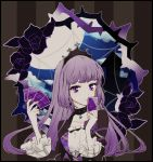 1girl aikatsu! aikatsu!_(series) bangs black_dress black_flower black_rose blunt_bangs card castle choker clouds commentary_request crown dress eyebrows_visible_through_hair flower frilled_dress frills full_moon gem gothic gothic_lolita hair_ornament highres hikami_sumire hime_cut holding holding_card idol lipstick lolita_fashion long_hair looking_at_viewer makeup moon night night_sky plant popoin portrait purple_hair rose sidelocks silk sky solo spider_web thorns tiara vines violet_eyes