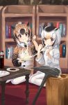 2girls bangs black_hair bookshelf bottle brown_eyes brown_hair chopsticks coat eating eurasian_eagle_owl_(kemono_friends) food food_request fur_collar grey_hair hair_between_eyes indoors kemono_friends looking_at_viewer multicolored_hair multiple_girls northern_white-faced_owl_(kemono_friends) pantyhose plate red_eyes short_hair sitting table tadano_magu white_hair white_legwear