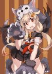 1girl all_fours animal_hood bangs black_skirt blonde_hair blush breasts dog_hood dog_paws dog_tail fake_tail fang gloves hair_flaps hair_ornament hairclip highres hood kantai_collection long_hair open_mouth paw_gloves paw_pose paw_shoes paws red_eyes red_neckwear remodel_(kantai_collection) sailor_collar school_uniform serafuku shoes short_sleeves skirt solo striped striped_background sugue_tettou tail yuudachi_(kantai_collection)