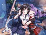 bang_dream! black_hair blush dress long_hair shirokane_rinko smile udagawa_ako violet_eyes