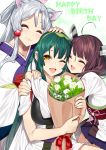 3girls :3 :d ;d ^_^ ahoge animal_ear_fluff animal_ears bangs bouquet brown_hair closed_eyes closed_mouth commentary_request eyebrows_behind_hair flower fox_ears girl_sandwich green_hair hair_ornament hand_on_another's_head happy_birthday headgear highres holding holding_bouquet hug japanese_clothes kimono long_hair multiple_girls muneate obi one_eye_closed open_mouth orange_eyes rose sandwiched sash short_sleeves silver_hair smile tasuki touhoku_itako touhoku_kiritan touhoku_zunko twintails voiceroid white_flower white_kimono white_rose yappen