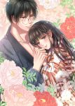 1boy 1girl bangs black_hair blush collarbone floral_background floral_print glasses hair_between_eyes head_on_chest hetero highres hug izumi_(stardustalone) japanese_clothes kimono long_hair looking_at_viewer renri_no_chigiri_wo_kimi_to_shiru smile very_long_hair violet_eyes